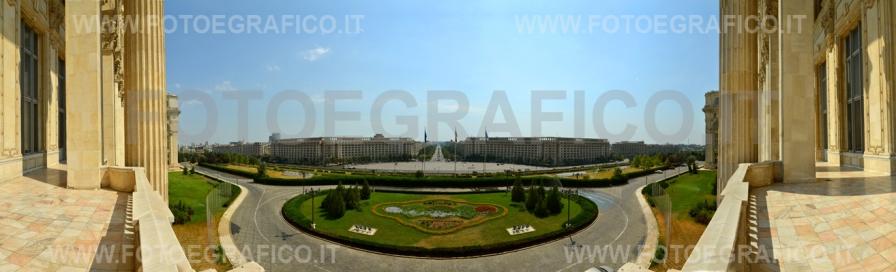 Bucarest-Romania, Panorama dal Palazzo del Parlamento
