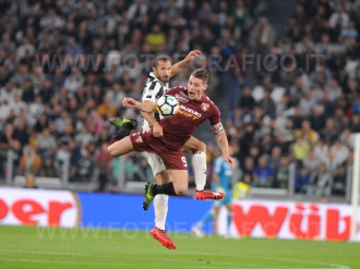 September 23, 2017 in Turin - Allianz Stadium Soccer match Juventus F.C. vs F.C. TORINO In picture: Giorgio Chiellini vs. Andrea Belotti