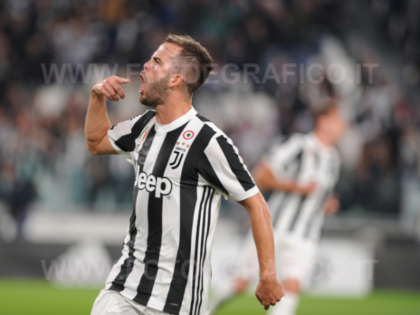 September 23, 2017 in Turin - Allianz Stadium Soccer match Juventus F.C. vs F.C. TORINO In picture: Miralem Pjanić exults